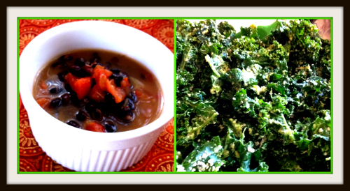 Post image for Giving thanks + Healthy, quick, vegan eats:  Black Bean Miso Soup and Kale and Avocado Salad