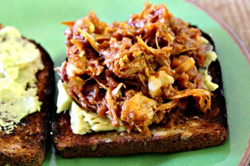 BBQ Pulled Jack Fruit Open Face Sandwich