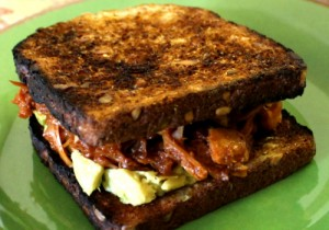 BBQ Pulled Jack Fruit Sandwich with Avocado