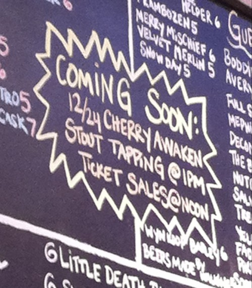 Tapping the Cherry Awaken Stout at Trinity Brewing