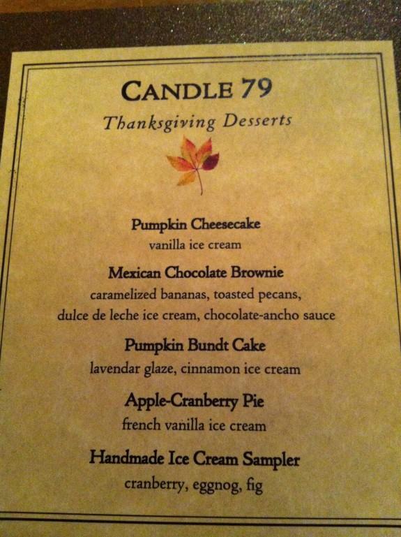 Candle Cafe Thanksgiving Menu