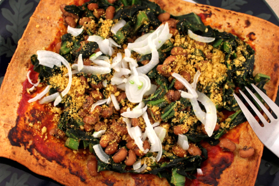 Post image for Black-Eyed Pea and Collard Green Pizza