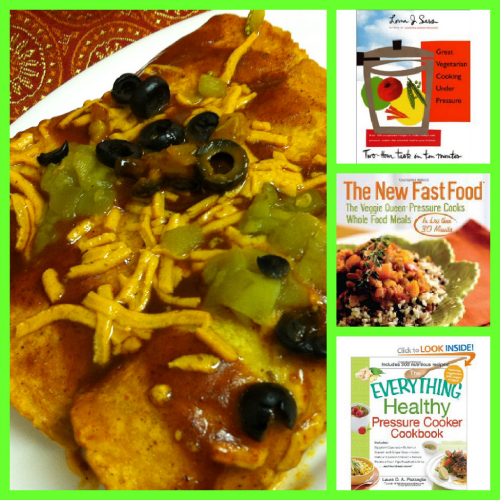 Post image for Jackfruit and Sweet Potato Enchiladas Recipe (and my favorite pressure cooker cookbooks)