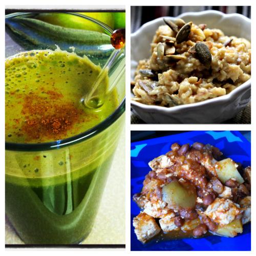 Post image for Vegan breakfast recipes: Tofu and Pinto Bean Hash + Savory Oatmeal Porridge