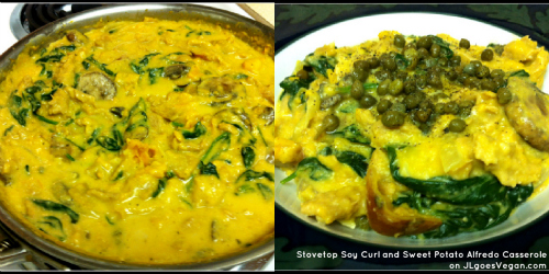 Post image for Stovetop Soy Curl and Sweet Potato Alfredo Casserole